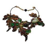 Vintage Glass on Hand Painted Sculpted Leaves w Snail Shell Necklace