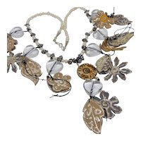 Silvered Leather Flowers w Lucite Hearts on Long Cultured Freshwater Pearl n Zebra Shell Necklace