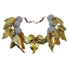 "Mixed Metals ""Berries and Leaves"" Choker Necklace"