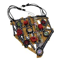 Mixed Media Abstract Bib Necklace