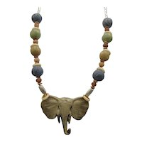 Elephant Beads on Leather Necklace