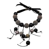 Big Bead n Leather Bib Necklace