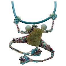 Sculpted SS Bejeweled Frog on Turquoise Colored Leather