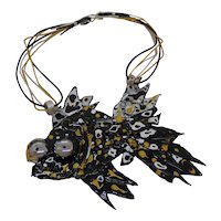Black, Gold and White Fish on Leather Cords Necklace