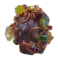Amethyst set in Copper on Sterling Silver Ring
