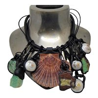 Shells n Gemstones Mixed Media on Leather Necklace