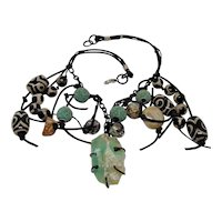 Mixed Media Bib Necklace on Leather
