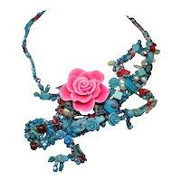 Multi-Media Total Wrap Lizard Necklace