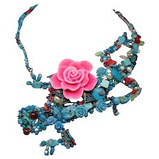 Multi-Media Total Wrap Lizard Necklace