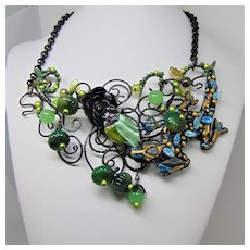 "Mixed Media ""Lizard in the Melons"" Bib Necklace"