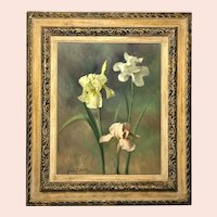 "Goode Paschall Davis, ""Three Irises"" Oil Painting"