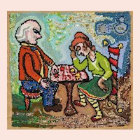 "Dorothy Strauser, ""Checkers,"" Couple Portrait, Folk Art Wall Hanging"