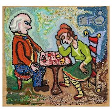 """Dorothy Strauser, """"Checkers,"""" Couple Portrait, Folk Art Wall Hanging"""