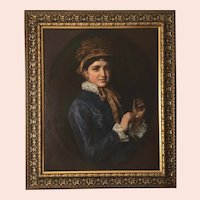 Fine 19th Century Portrait, Young Woman with a Gold Watch Oil Painting