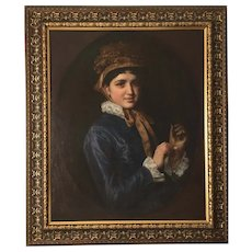 Young Woman with a Gold Watch, 19th Century Oil Painting