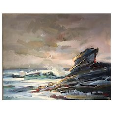 "Christine Trella Koczwara, ""Rocky Coast"" Oil Painting"