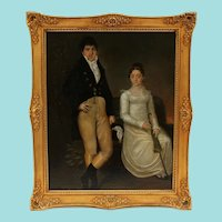 Wedding Couple Portrait, Early 19th Century Folk Art Oil Painting