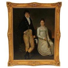 Wedding Couple Portrait, Early 19th Century Folk Art Oil Painting