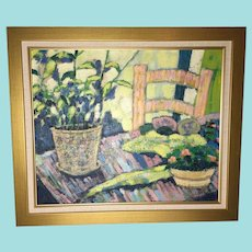 """Gilmour, """"Still Life with Chair,"""" Mid-20th Century Oil Painting"""