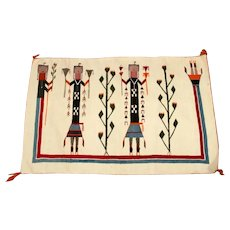 Navajo Pictorial Rug; Yeis with a Rainbow Guardian