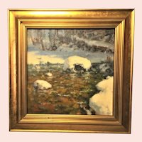 """David Ballew, """"Winter River Morning"""" Landscape Oil Painting"""