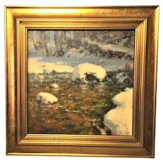 "David Ballew, ""Winter River Morning"" Landscape Oil Painting"