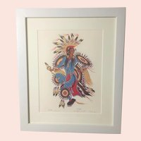 "Woodrow Wilson ""Woody"" Crumbo, ""Feather Dancer"" Portrait, RARE Signed & Numbered Silkscreen Print"