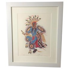 "Woodrow Wilson ""Woody"" Crumbo, ""Feather Dancer"" RARE Signed & Numbered Silkscreen Print"