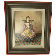 Jean H Halter, Girl with Doll Portrait, Folk Art Oil Painting