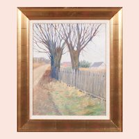 "Leon J. Friedheim, ""Trees beside a Fence"" Oil Painting"