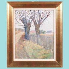 "Leon J. Friedheim, ""Trees beside a Fence"" Oil Painting"