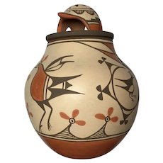Marcellus & Elizabeth Medina, Polychrome Four Bird Jar with Bear Lid, Zia Pueblo