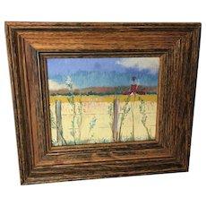 L. Rathbun, Country Road, miniature oil painting