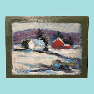 Evelyn Marie Allen Faherty, Farmhouse with a Red Barn Oil Painting