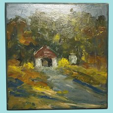 Evelyn Marie Allen Faherty, Covered Bridge Oil Painting