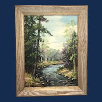 "Clarence Ira Dreisbach, ""Early Spring Swiftwater Creek"" Landscape Oil Painting"