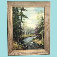 """Clarence Ira Dreisbach, """"Early Spring Swiftwater Creek"""" Landscape Oil Painting"""