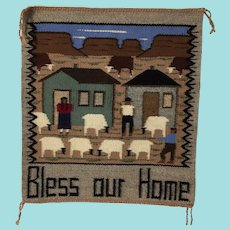 Navajo Pictorial Rug; Bless Our Home