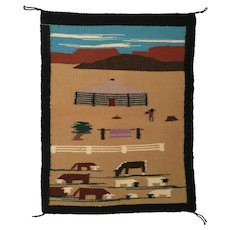 Navajo Pictorial Rug; Rancher with Hogan, Cattle, & Sheep