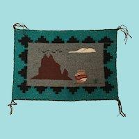Navajo Pictorial Rug, Shiprock at Night with a Pueblo Water Jar or Olla