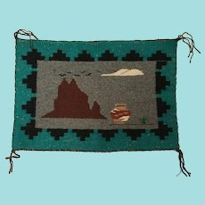Navajo Pictorial Rug, Shiprock at Night with a Pueblo Water Jar or Olla