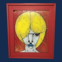 "Michael Banks, ""Blonde"" Portrait on Found Board"