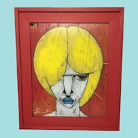 "Michael Banks, ""Blonde"" Portrait on Found Board"