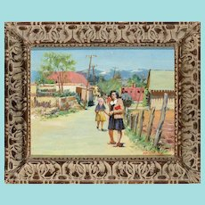 "Odon Hullenkremer, ""Canyon Road, Santa Fe"" Oil Painting"
