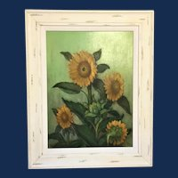 """Frederick Zimmerman, """"Sunflowers"""" Oil Painting"""