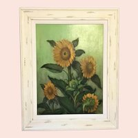 "Frederick Zimmerman, ""Sunflowers"" Oil Painting"