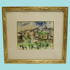 """William Thon, """"Houses in a Landscape"""" Ink and Watercolor Painting"""