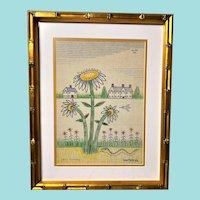 """Jack Savitsky, """"Sunflowers"""" Outsider Art Drawing/Painting"""