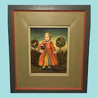 Jean H Halter, Boy with Birds Portrait, Folk Art Oil Painting
