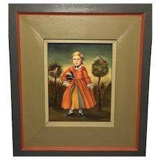 Jean H Halter, Boy with Birds Portrait, Folk Art Oil Painting